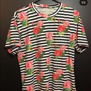 Young & Reckless striped rose tee